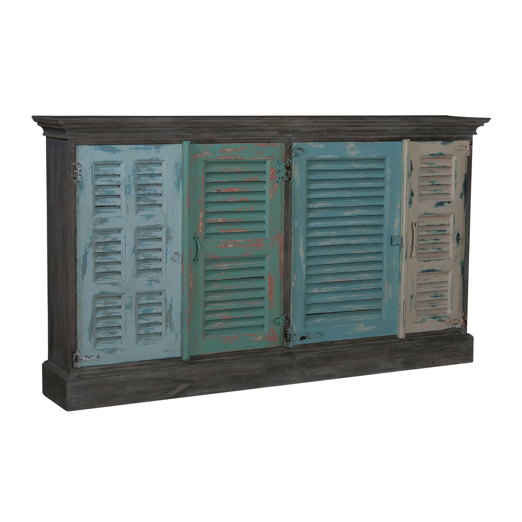 Waterfront 4-Door Shuttered Credenza in Sea Colors | Elk Home