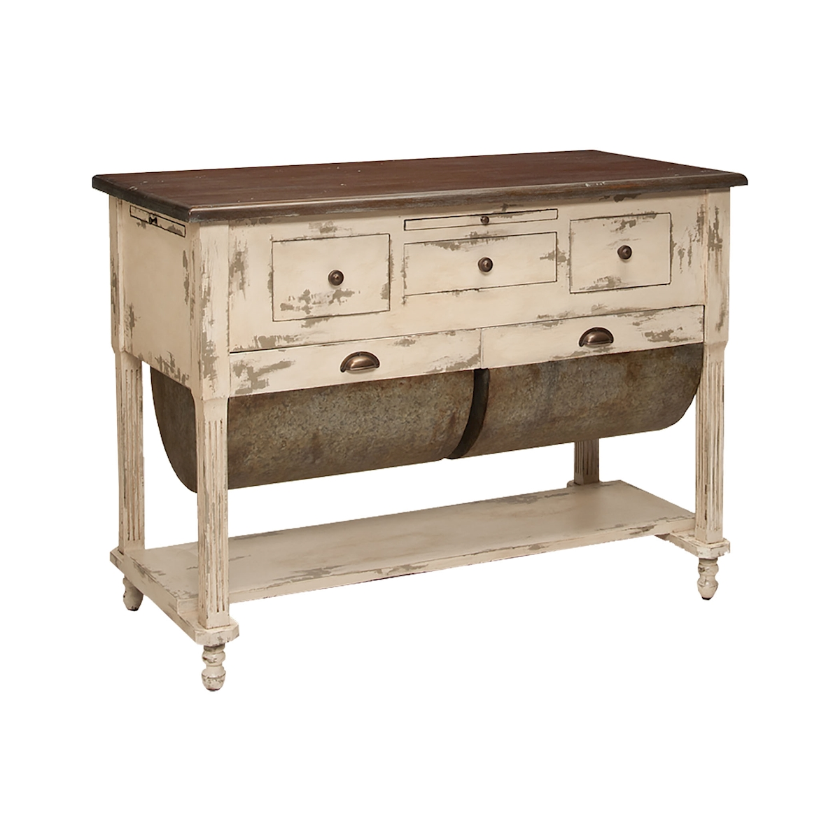 Possum Belly Kitchen Island in Distressed Cream | Elk Home