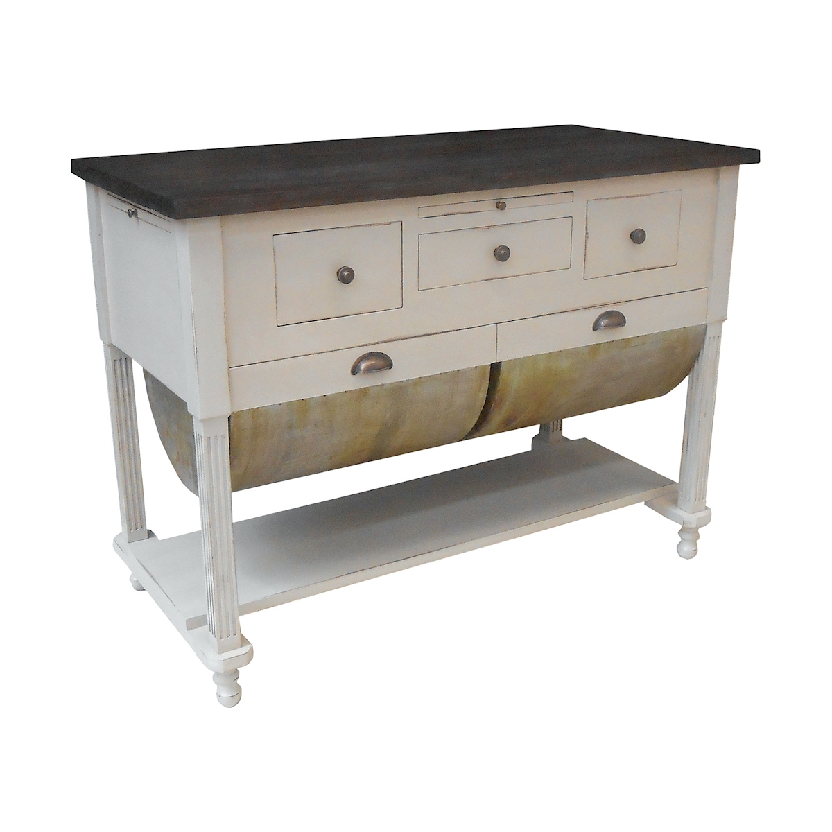 Possum Belly Kitchen Island in Crossroads European White | Elk Home