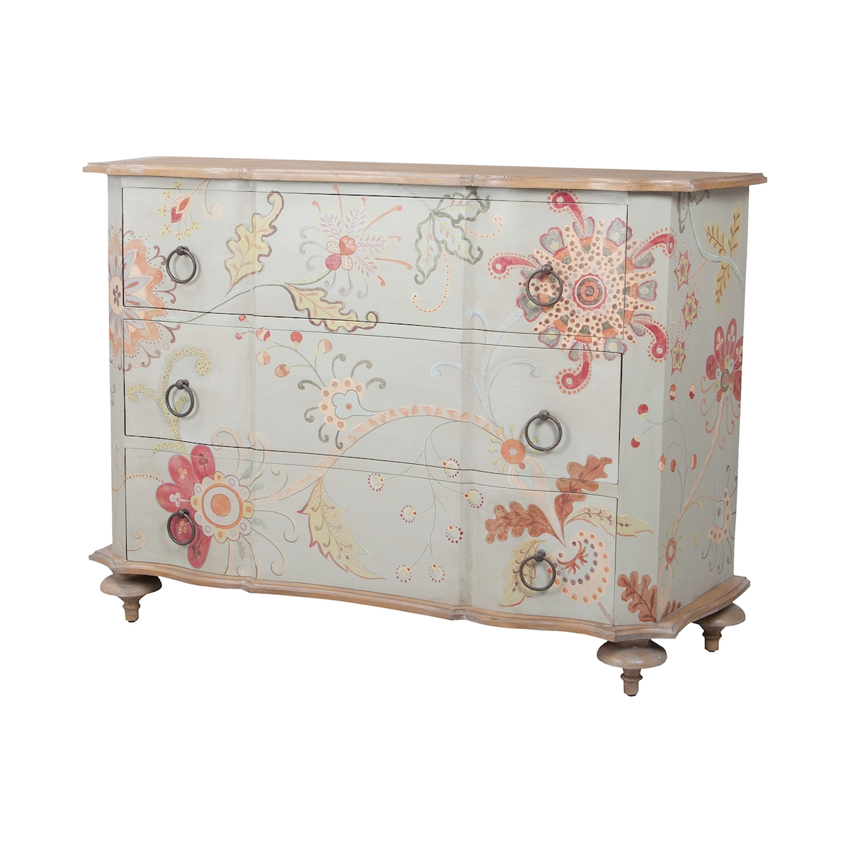 Manor Duchess Chest in Manor Griege with Hand-Painted Pastel Floral Art | Elk Home