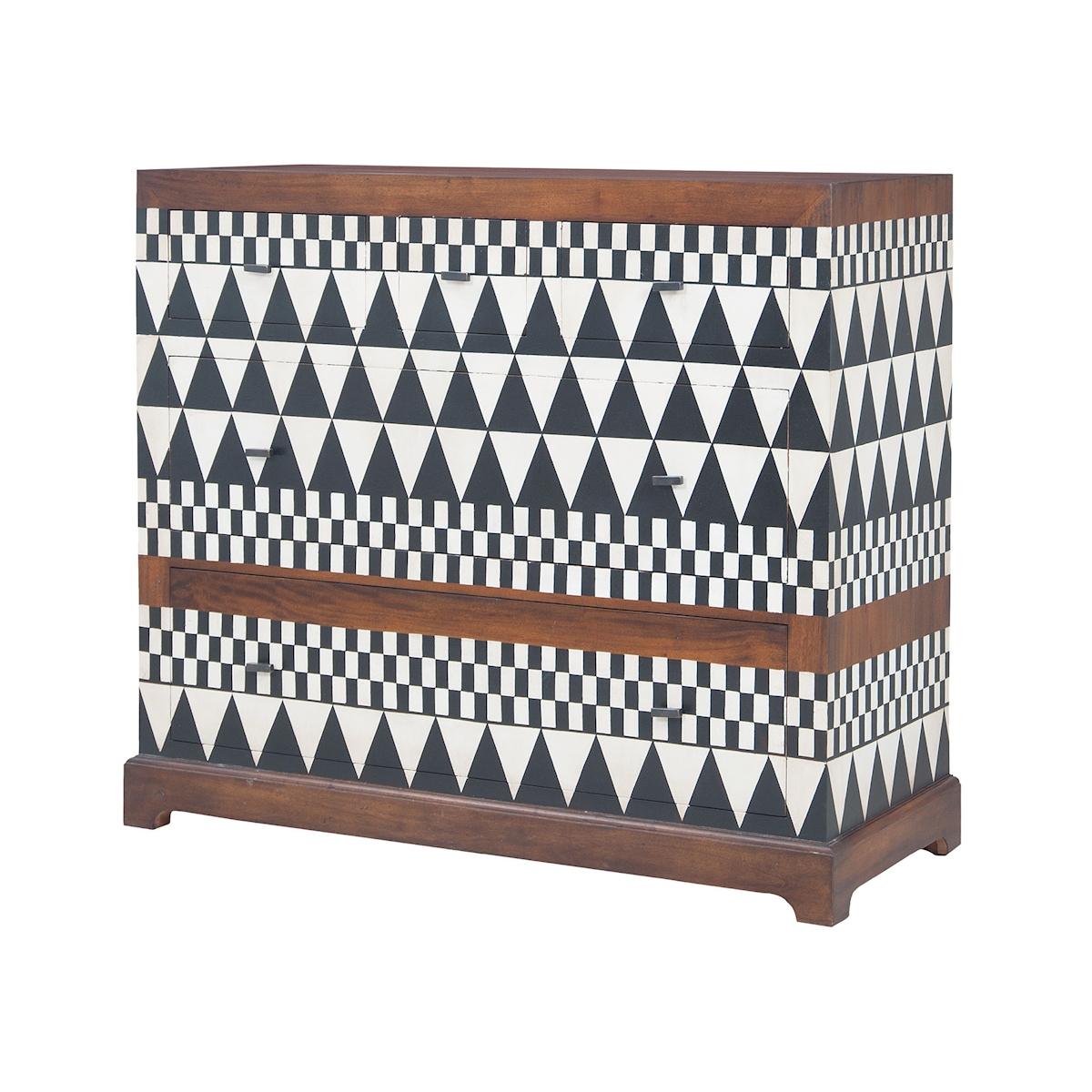 Signature Chest in New Signature Stain with Hand-Painted Geometric Art | Elk Home