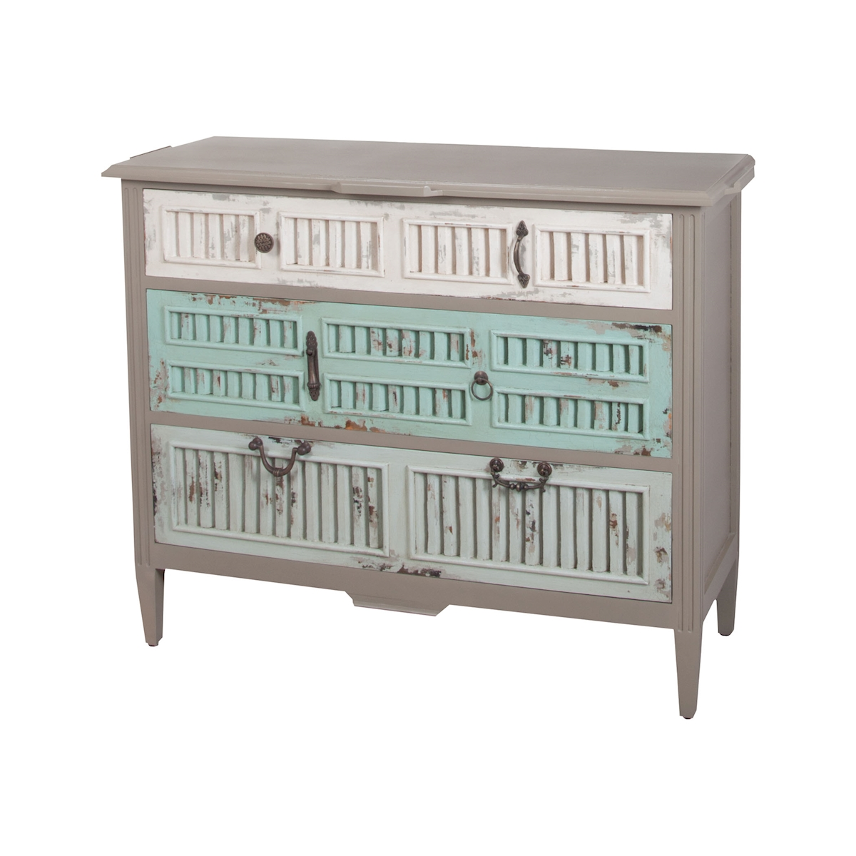 Waterfront 3-Drawer Shuttered Chest in Grain De Bois Taupe | Elk Home