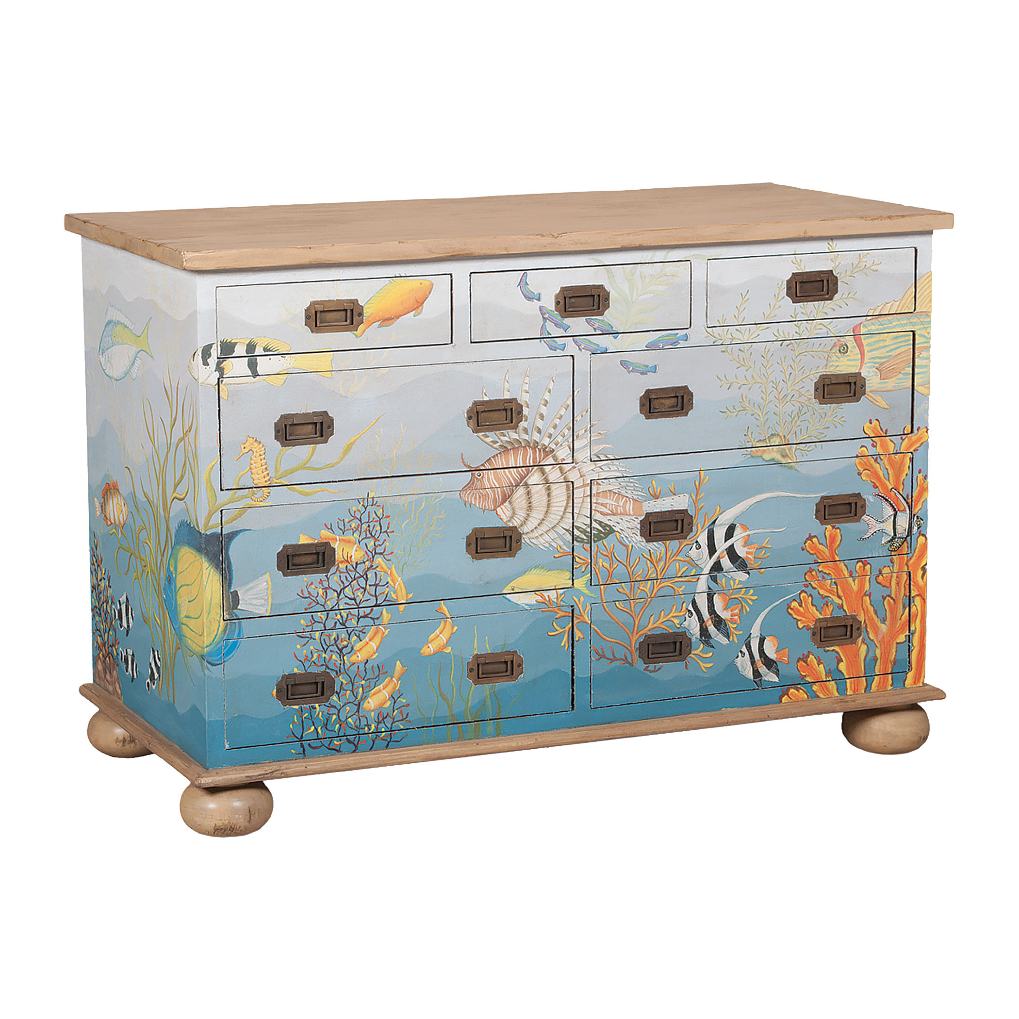 Waterfront 9-Drawer Chest with Tropical Motif | Elk Home