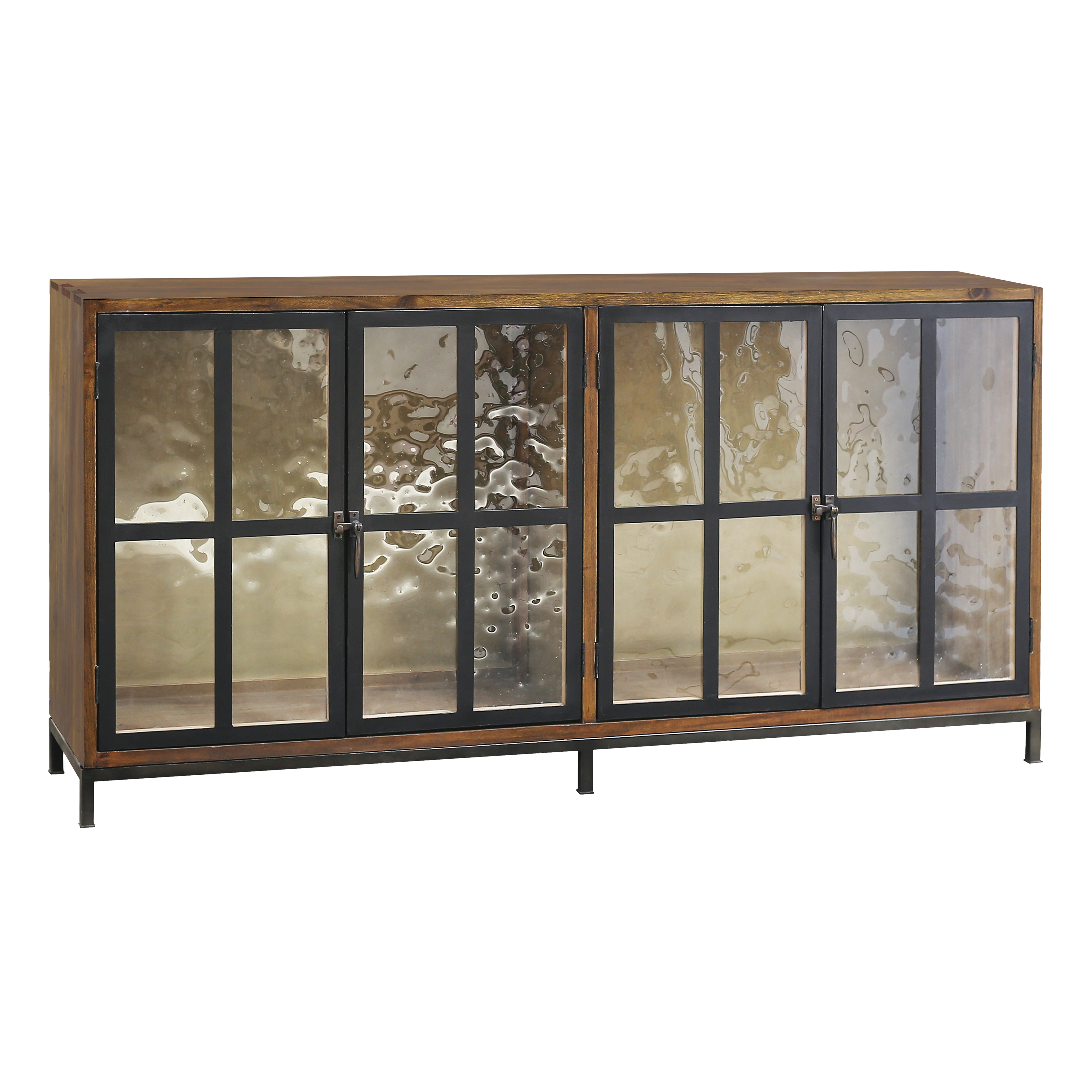 Modern America 4-Door Cabinet in Timber and Metal with Hand-Poured Glass | Elk Home
