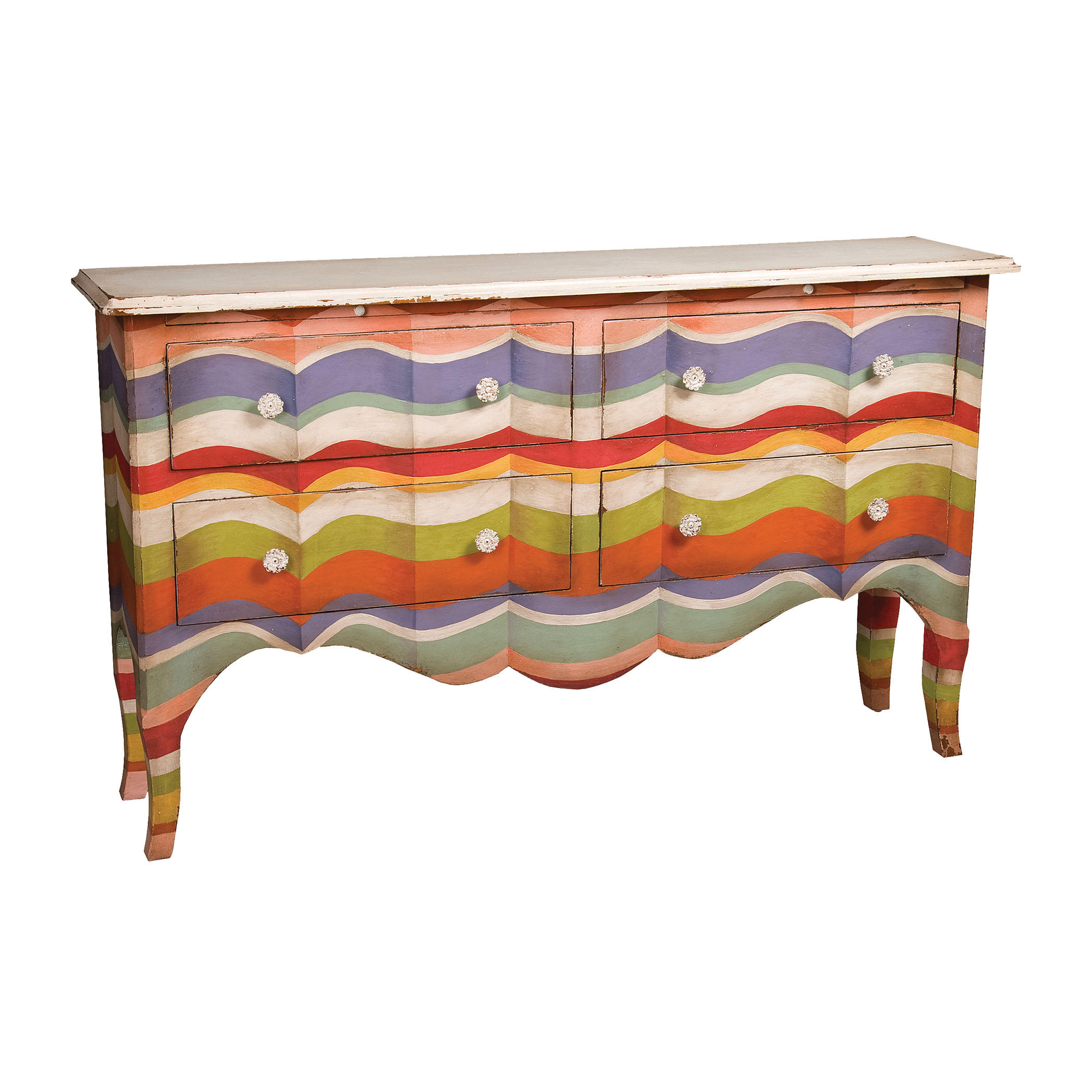 4-Drawer Sideboard in Multi-Color Stripes with Signature Antique White Top | Elk Home