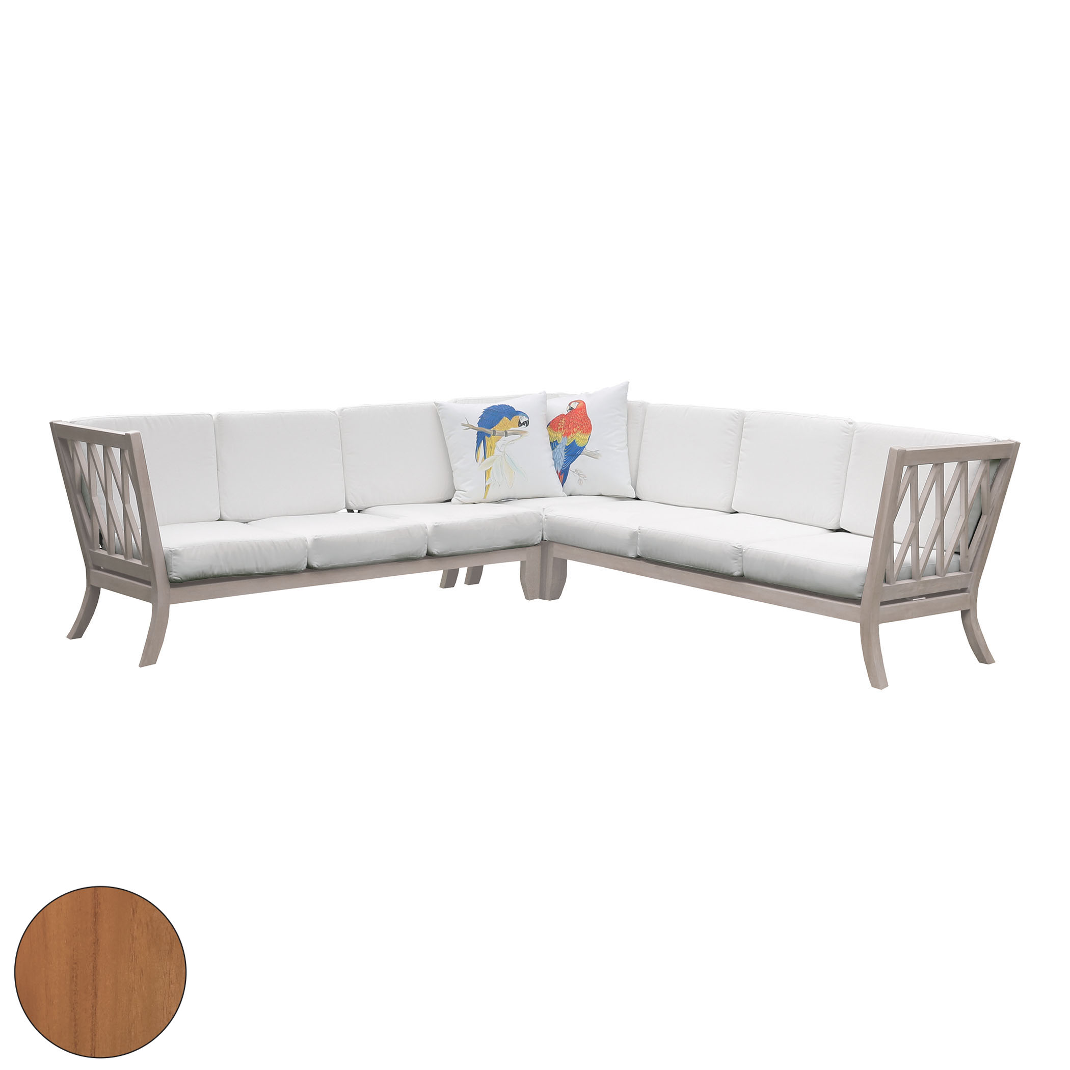 Hilton Outdoor Sectional with White Cushions Set of 15 | Elk Home