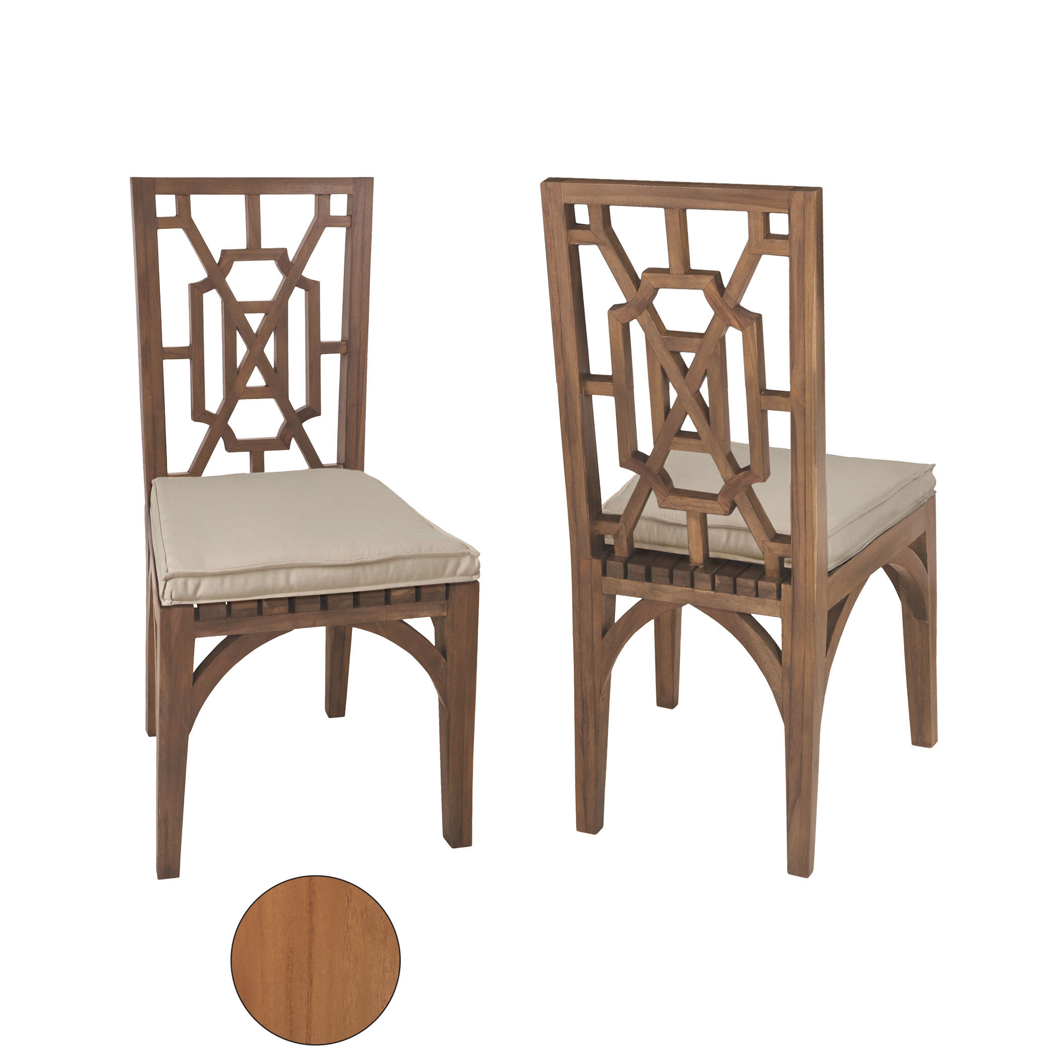 Teak Garden Dining Chairs in Euro Teak Oil Set of 2 | Elk Home