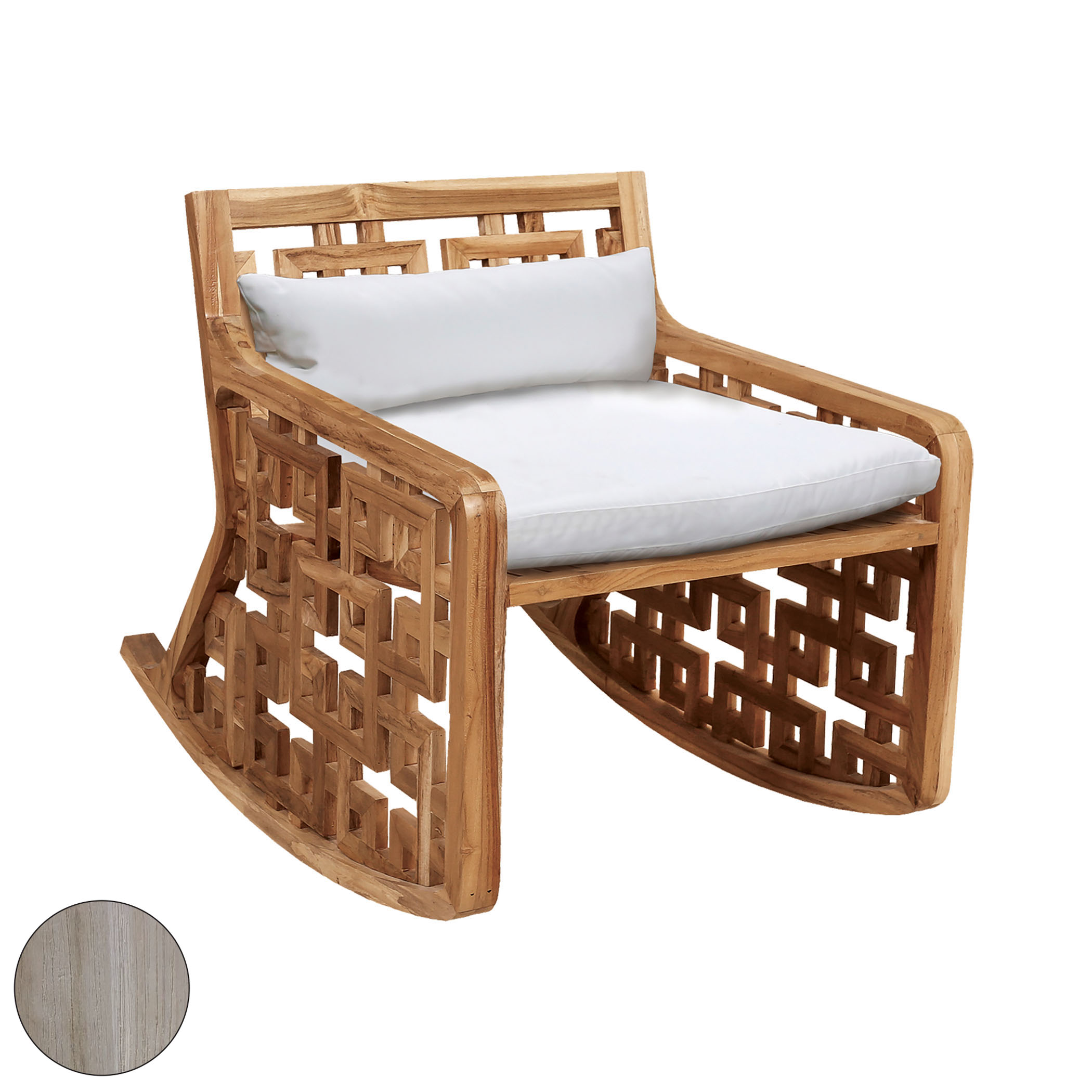 Matt's Outdoor Rocking Chair with Set of 2 White Cushions | Elk Home
