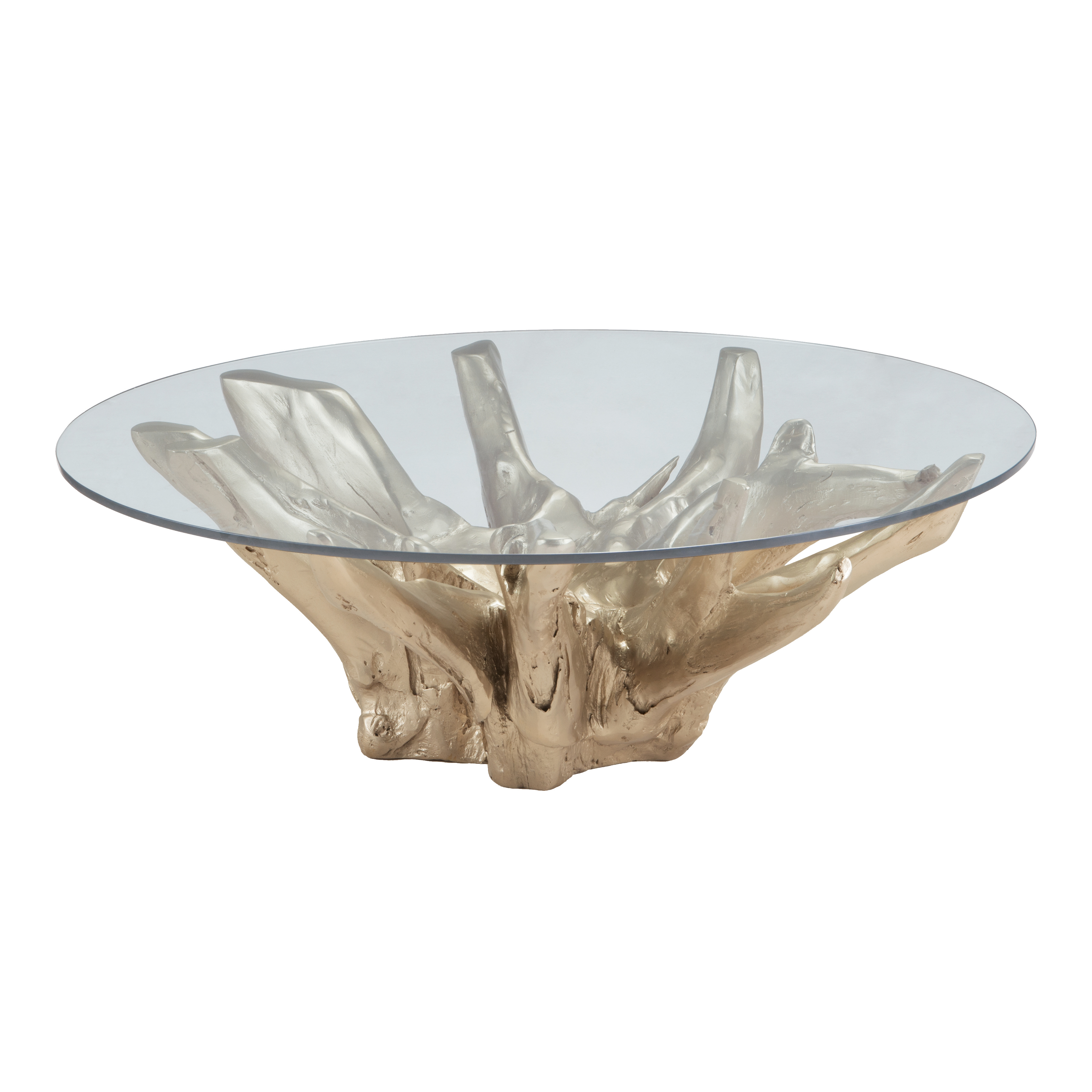 Yava Teak Root Cocktail Table with Glass Top in Champagne Gold | Elk Home