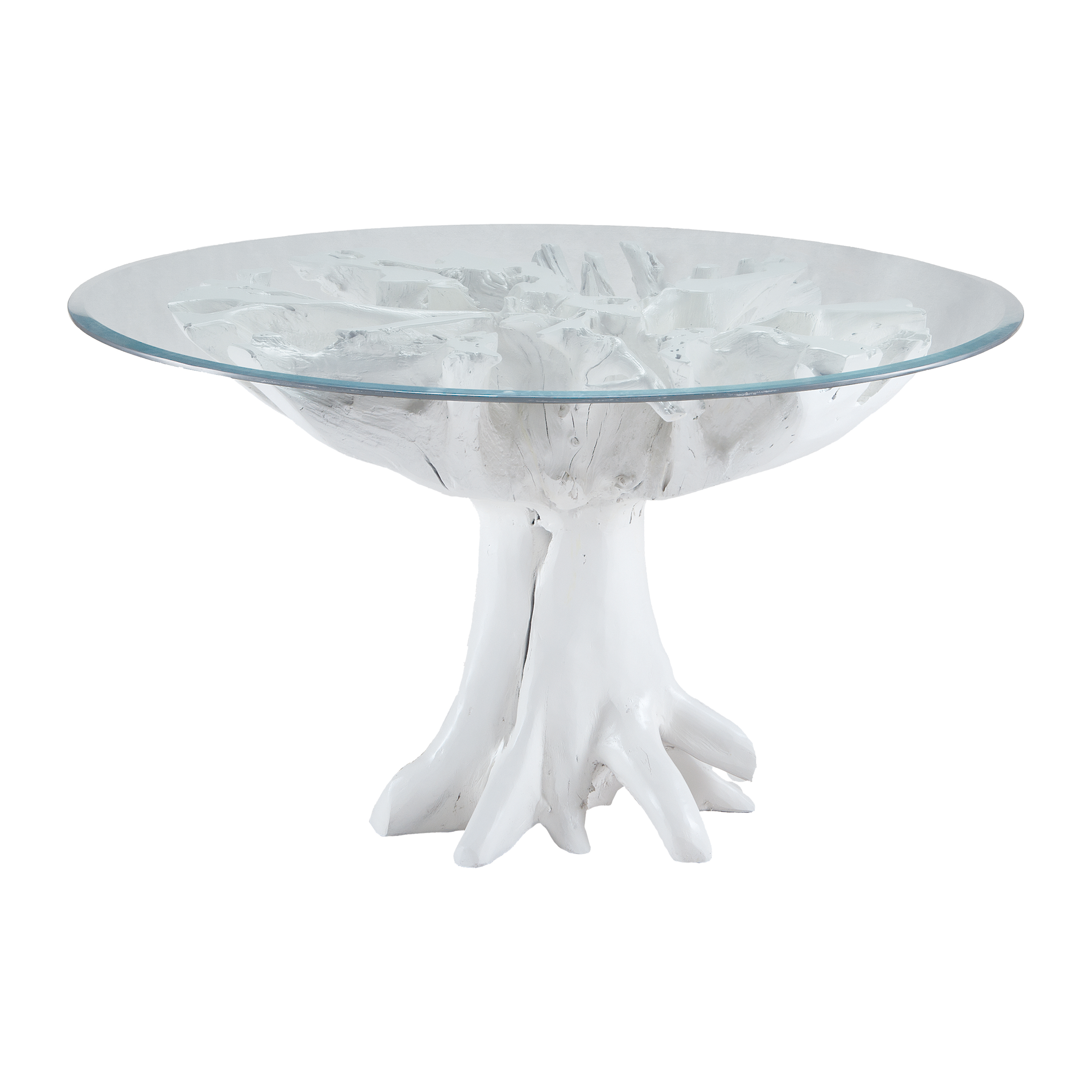 Yava Teak Root Entry Table with Glass Top in White | Elk Home