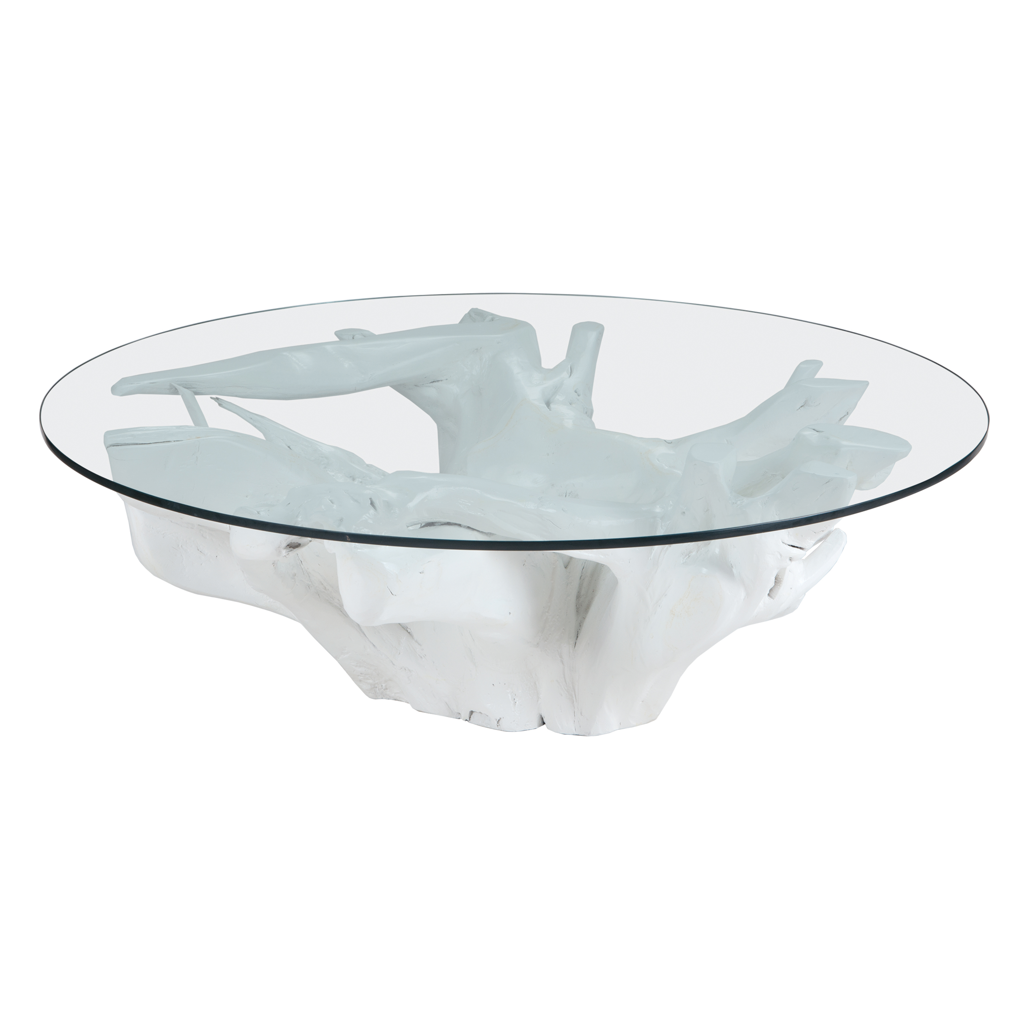 Yava Teak Root Cocktail Table with Glass Top in White | Elk Home