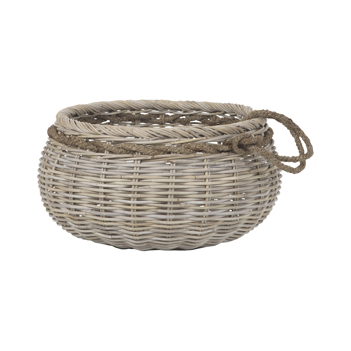 Sumbawa Basket in Natural Rattan and Grey Stained Rope Large | Elk Home