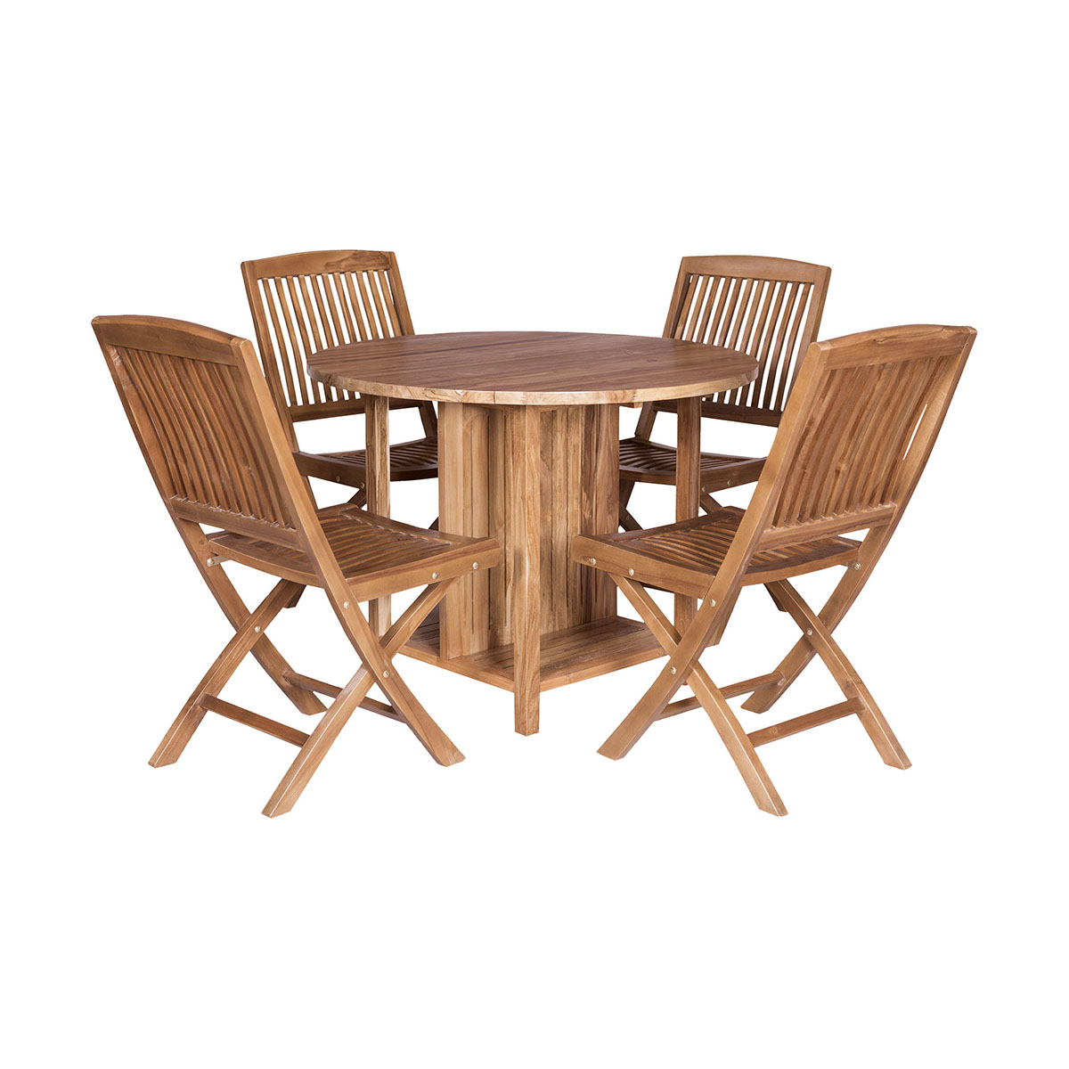 Teak Drop-Leaf Game Table with 4 Chairs Set of 5 | Elk Home
