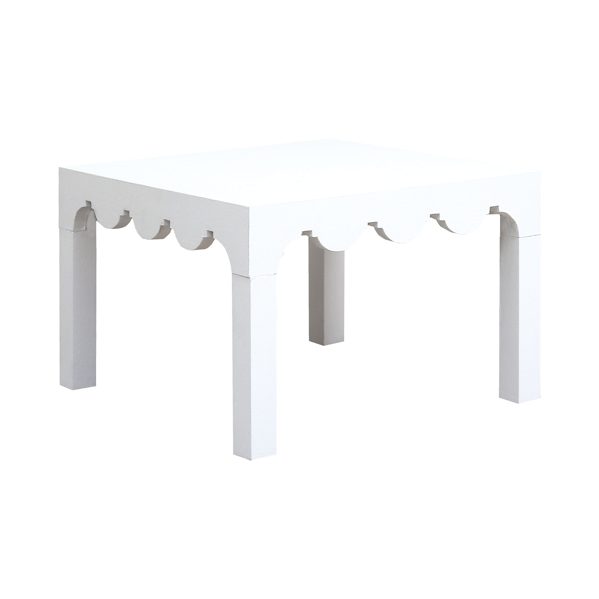 Lifestyle Cocktail Table Wrapped in White Canvas | Elk Home