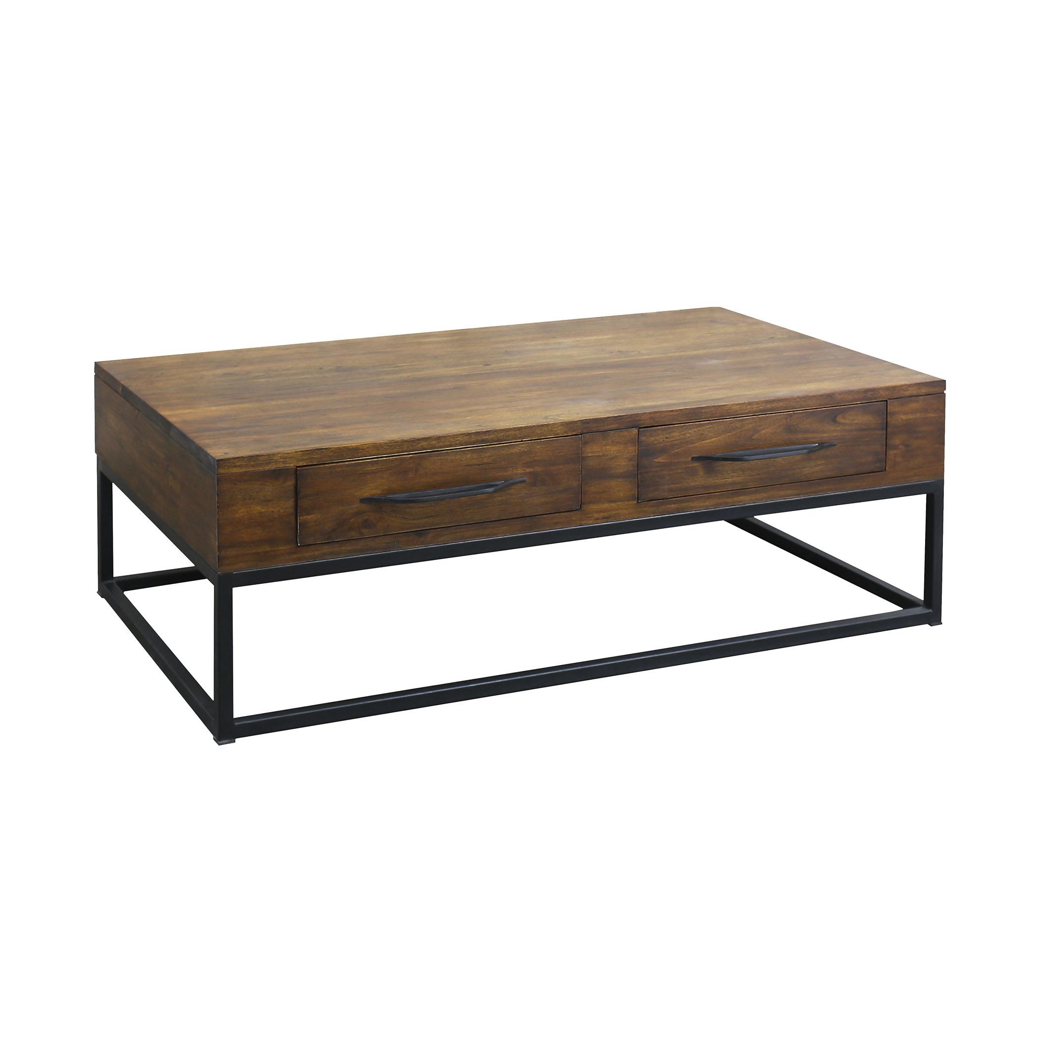 Stanley 2-Drawer Coffee Table in Wood and Metal   Elk Home