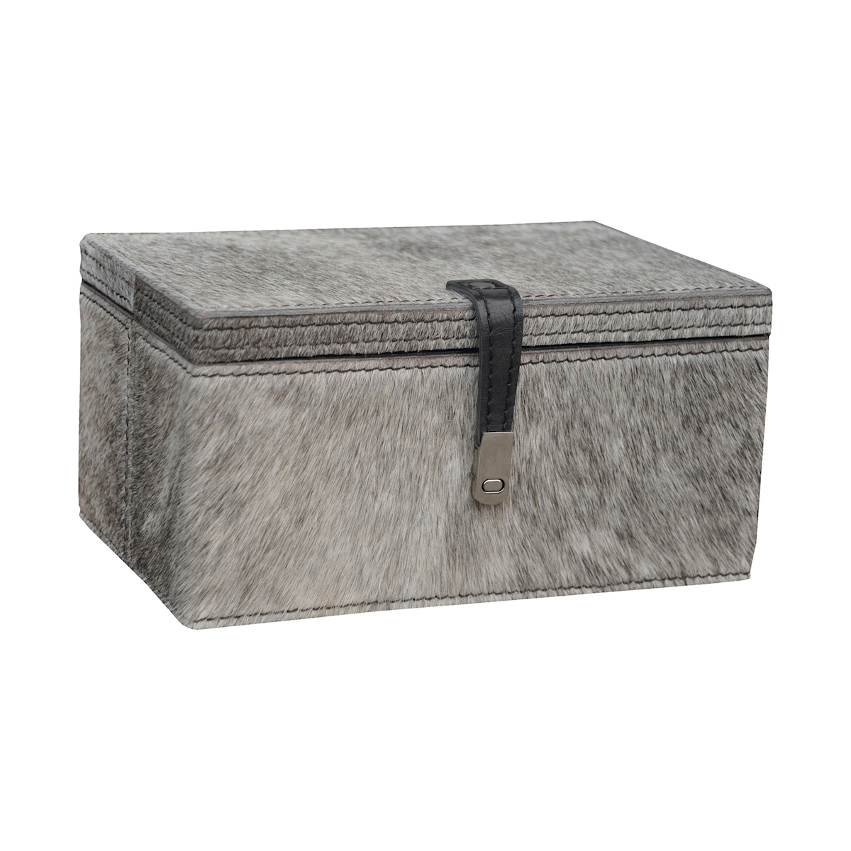 Small Grey Hairon Leather Box | Elk Home
