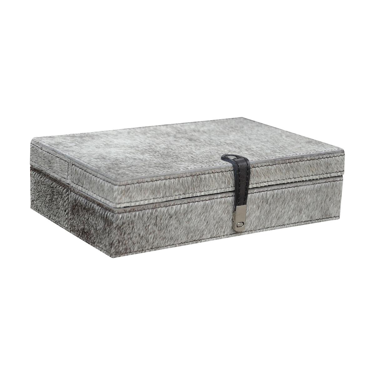 Large Grey Hairon Leather Box | Elk Home