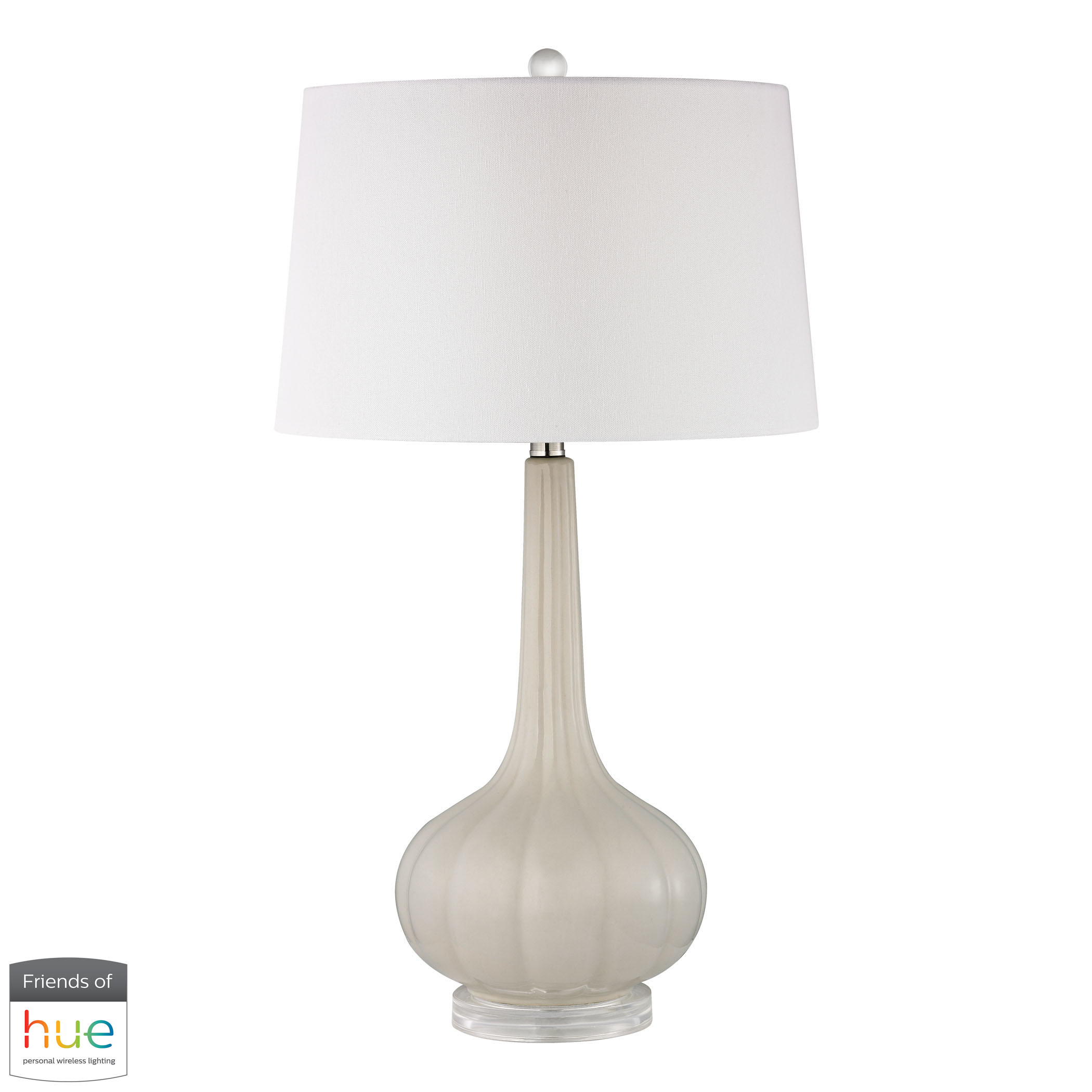 Abbey Lane Ceramic Table Lamp in Off-White with Philips Hue LED | Elk Home