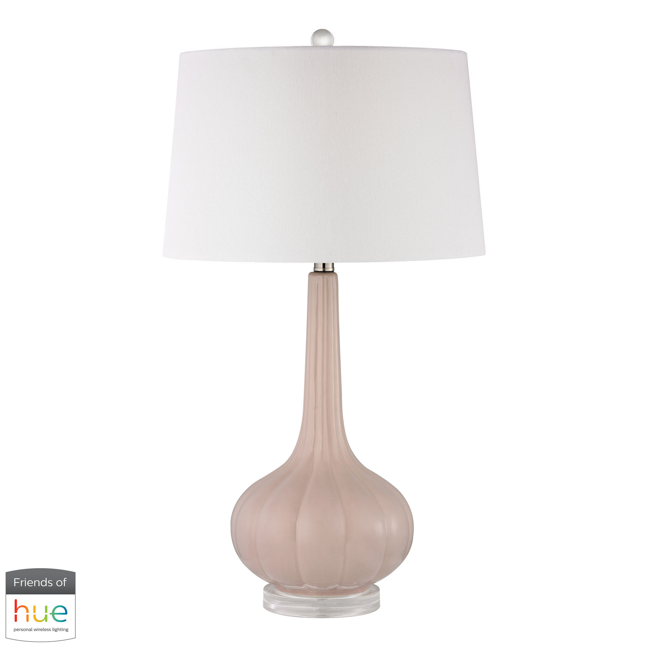 Abbey Lane Ceramic Table Lamp in Pastel Pink with Philips Hue LED | Elk Home