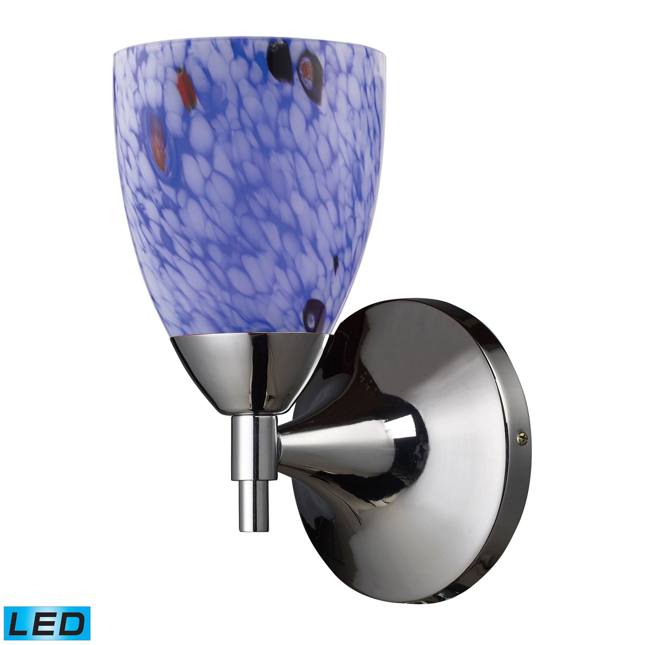 ELK Lighting Celina 1 Light LED Sconce In Polished Chrome Starburst Blue Glass