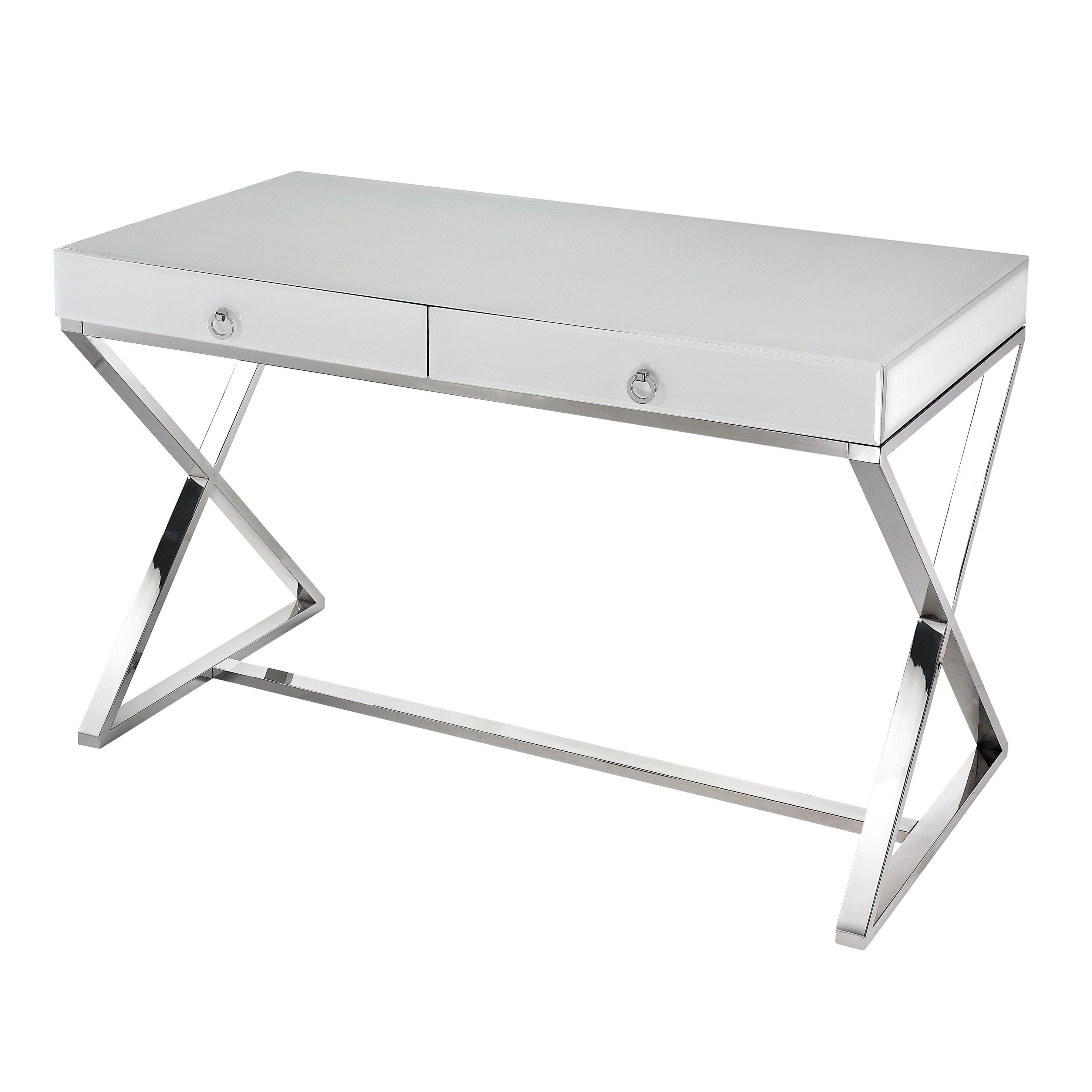 Super White Glass 2-Drawer Desk 1141105 | ELK Home
