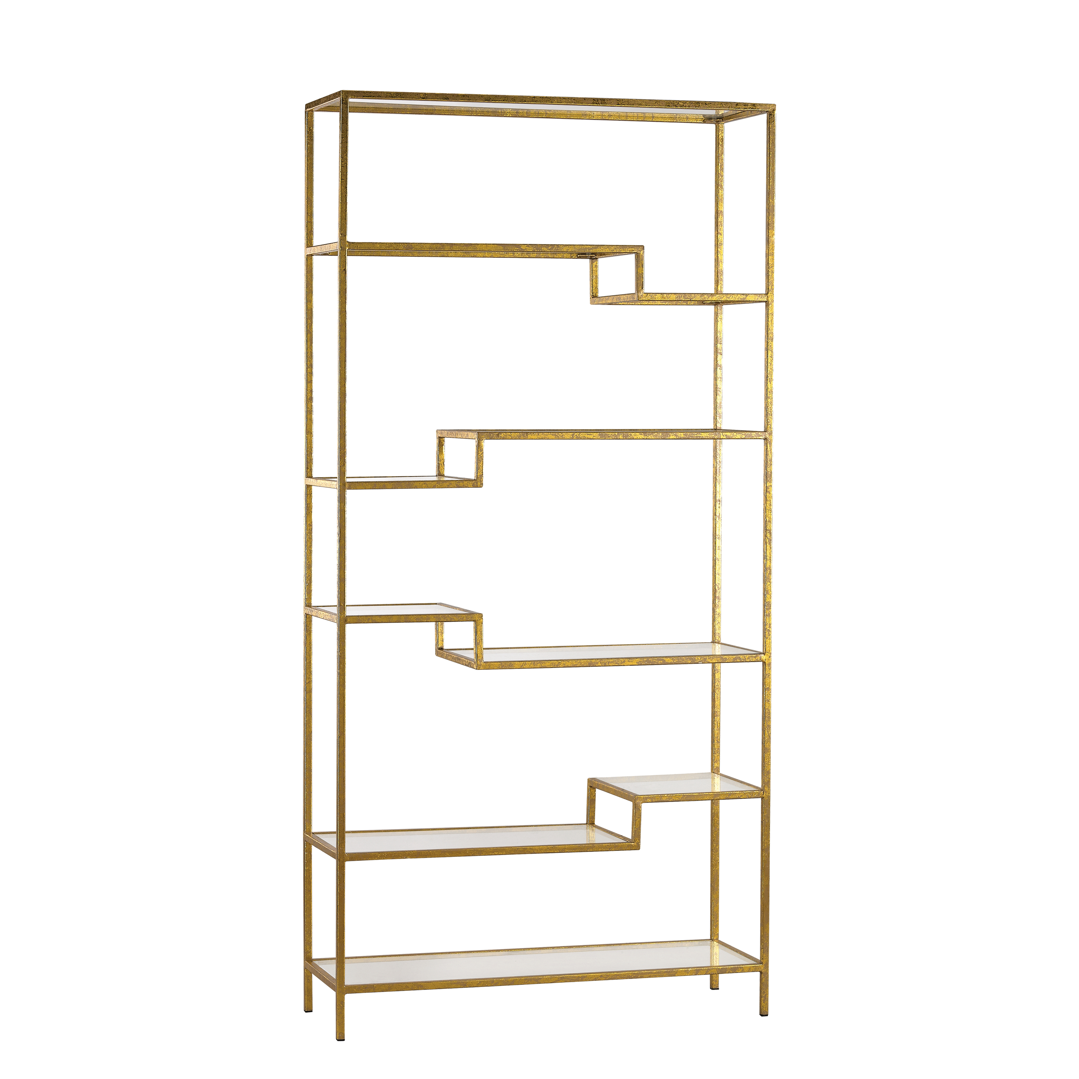 Vanguard Shelving Unit in Gold with Gold/Clear Glass 351-10209 | ELK Home