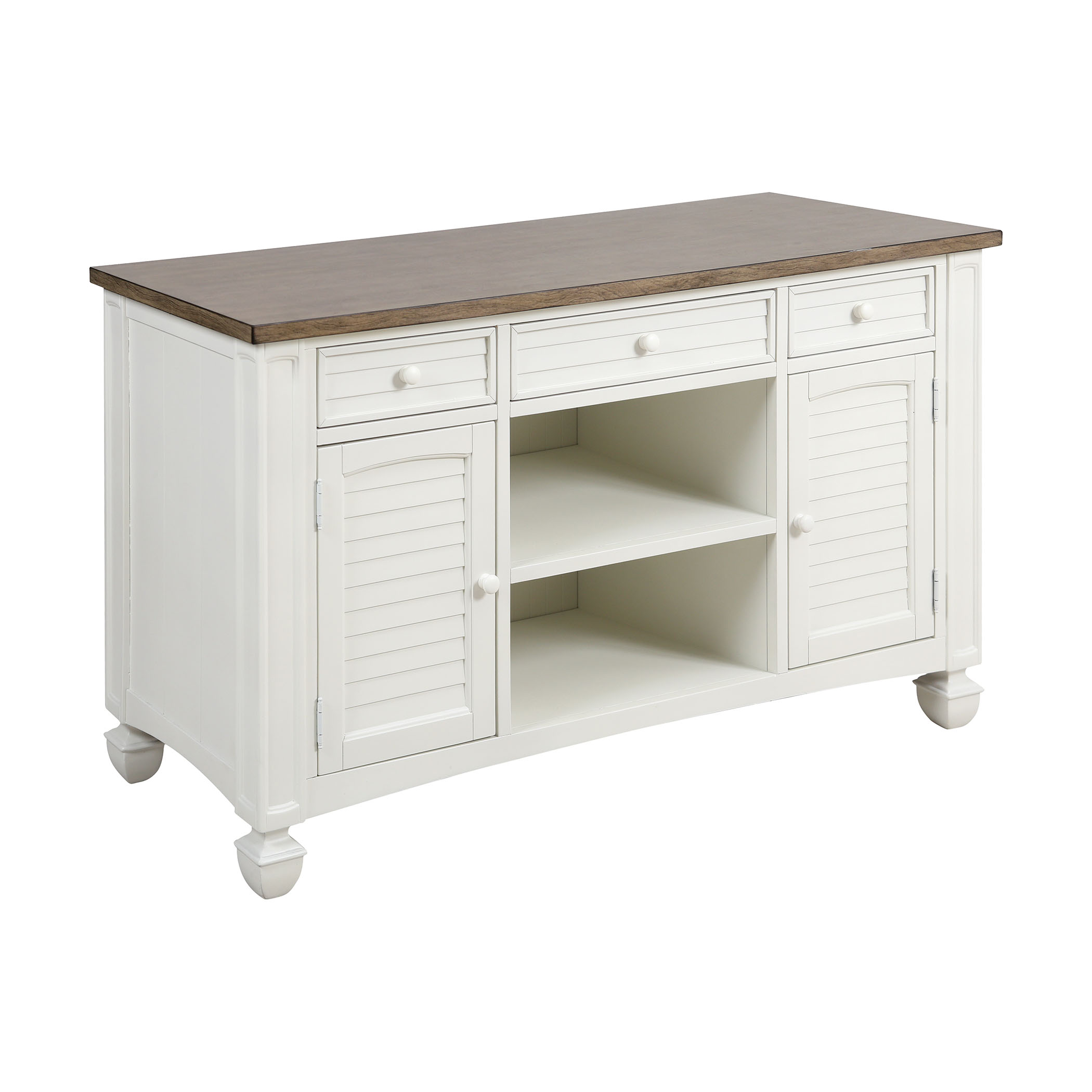 Nantucket 2-Door 3-Drawer Console Table in Off-White with Brown-Grey Top 473-031 | ELK Home