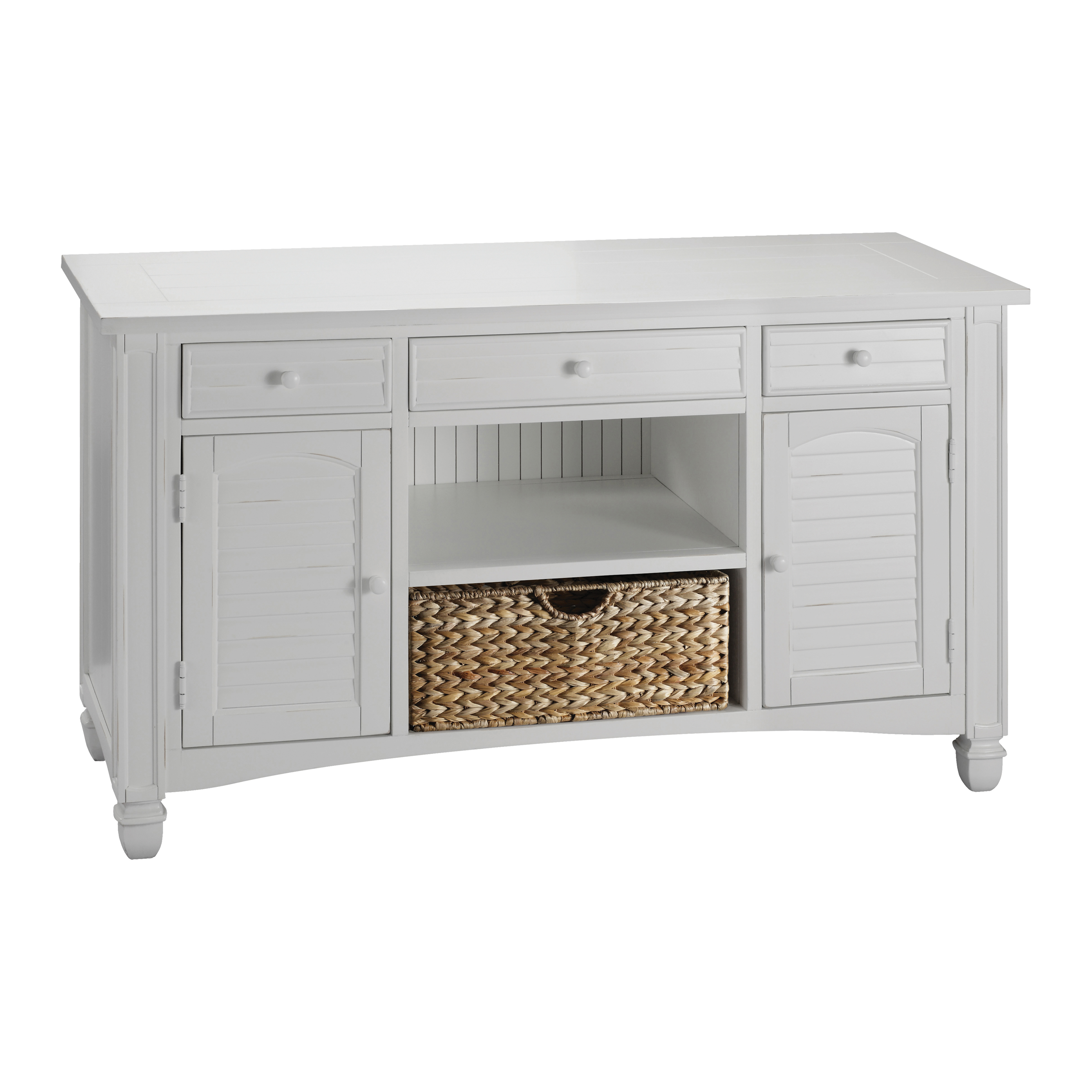 Nantucket 2-Door 3-Drawer Console Table in White with Basket 679-031 | ELK Home