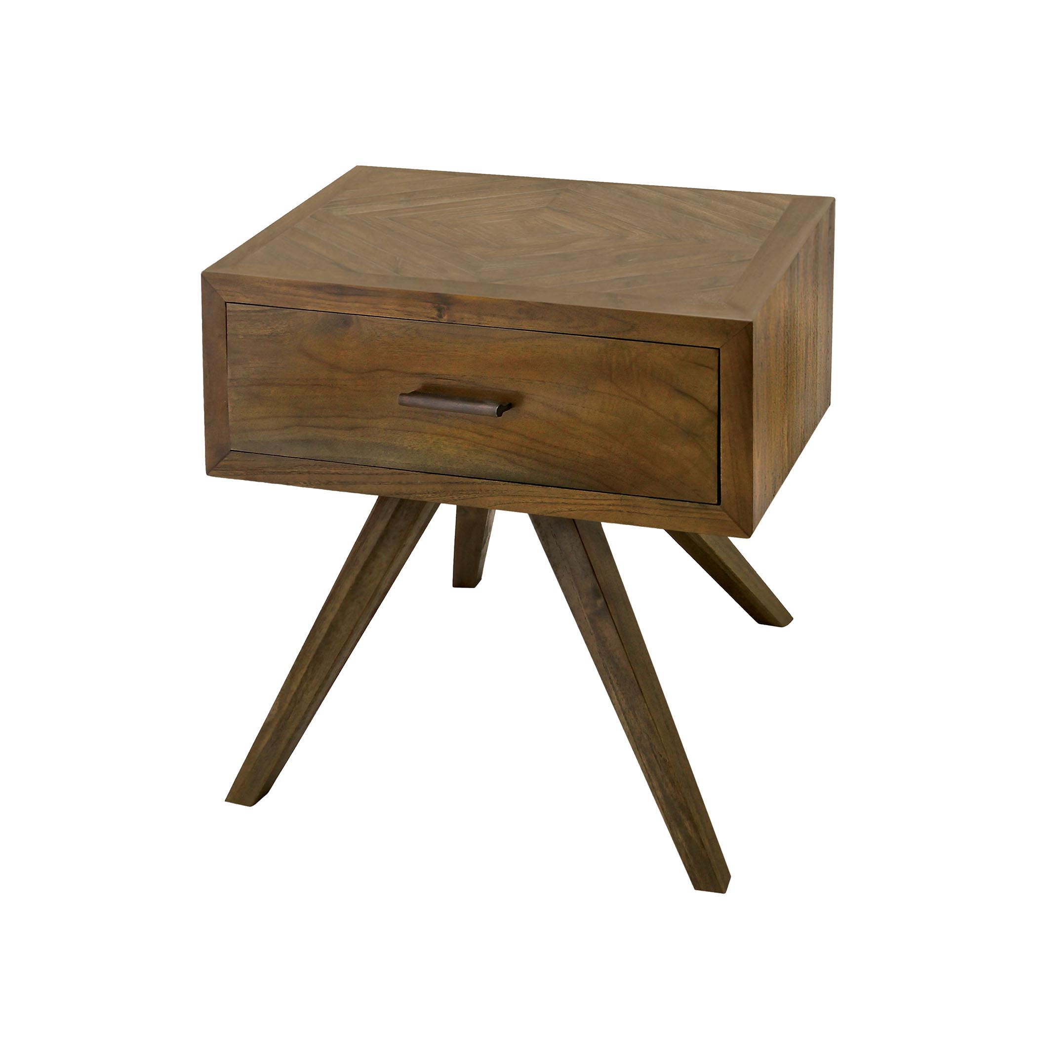 Teak Patio Side Table with Storage in Burnt Umber 7117011BU   ELK Home