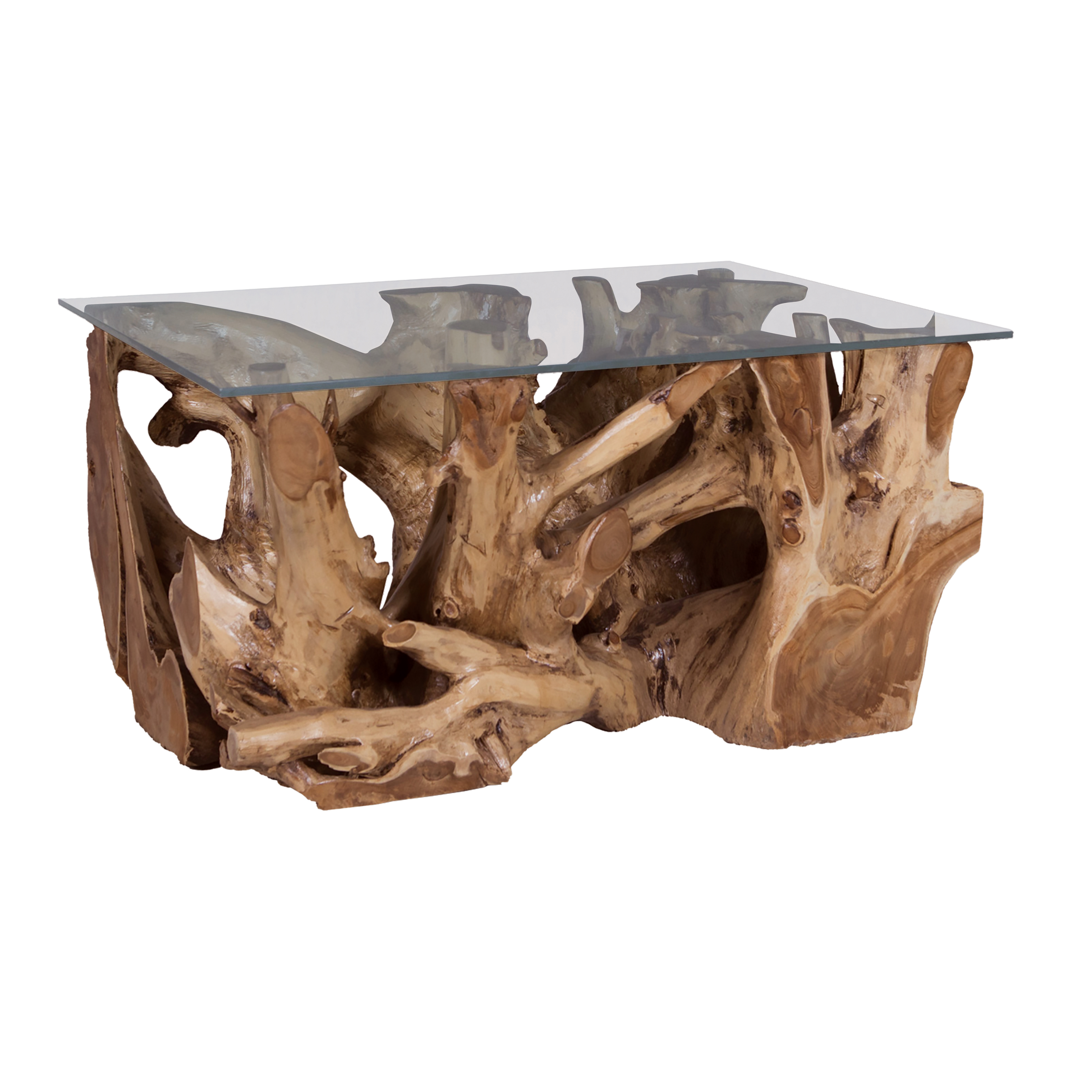 Elk Home Teak Root Coffee Table with Glass Top in Natural ...